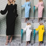 High-quality Long Solid Color Round Neck Dresses