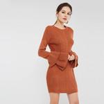 Round Neck Knee-Length Sweater Dress