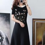 Lotus Leaf Knit Jacquard Dress Short Sleeve Black Sweater
