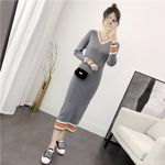Maxi Long Sweater Knitted Striped Dress