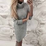 Elegant Sexy Knit Turtleneck Sweater Dress