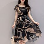 Black Vintage Floral Chiffon Midi Dress