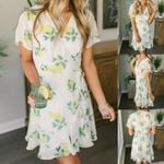 Sexy Casual Short Sleeve Lemon Print V Neck Dresses