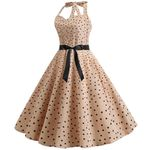 Robe Vintage Sleeveless Halter Dot Printing Swing Dresses
