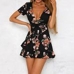 Bohemian V Neck Flower Print Short Sleeve Dresses