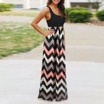 Striped Maxi Long Boho Sexy Beach Evening Party Sundress