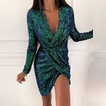 Sexy Deep V Neck Long Sleeve Ruched Dress