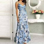 Casual Floral Print Wrapped Tied Side Maxi Dress