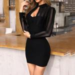 Sexy Bandage Elegant Black Long Sleeve Dress