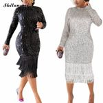 Long Sleeve Black Sequin Dresses