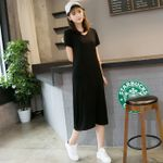 Short-sleeve New Style V-neck Base soft Black Dress