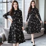 Vintage Long Sleeve Chiffon Elastic Waist Long Black Dress