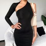 New Arrivals Sexy Single Sleeve Backless Black Dress