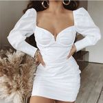 Vintage Long Puff Sleeve White Dress