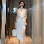 Sheer Elegant Birthday Sleeveless Midi Sexy Backless Dress