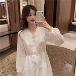 New Long Sleeve Mid-length Pullover White Dress