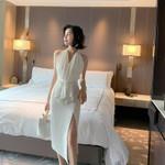 Sleeveless Midi Sexy Backless White Dresses