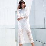 Flare Sleeve White Lace Dress