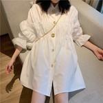 Elegant OL Shirt Half Flare Sleeve Chic White Dress