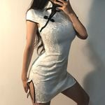 Sexy White Cheongsam Button Punk Style Slim Dress