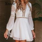 Sexy V-Neck Long Sleeve Lace Trim Short Mini white dress