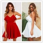 Red Sleeveless Spaghetti Strap Casual White Mini Sundress