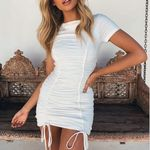 Oeak White Ruched Pleated Bodycon Dress