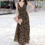 Sexy Sleeveless Leopard Printed Maxi Long Dress