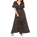 Short Sleeve Lace Up Lady Casual Long Leopard Dress