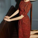 New Retro Leopard Print Back Buckled Waist Dress