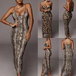 V-neck Snake Leopard Animal Sleeveless Sexy Dress