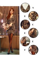 Sexy Leopard Print Long Sleeve V-neck Mini Club Dresses