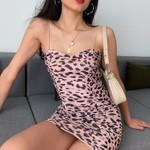 Pencil Bodycon Sexy Spaghetti Straps Leopard Slim Dresses