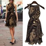 New Leopard Print Sleeveless Irregular Dress