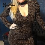 Leopard Long Sleeve Party Dress