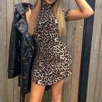 Turtleneck Casual Vadim Short Sleeve Dress Leopard Dress
