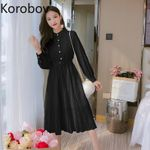 New Solid Vintage Elegant Long Sleeve Lace Dresses