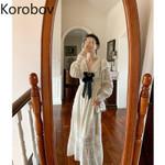 Solid V Neck Lace Vintage Elegant Long Sleeve Dresses