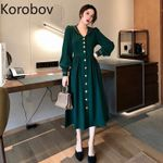 Solid Vintage Elegant Long Sleeve Sailor Collar Dresses