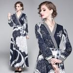 fashion wild wild waist slimming positioning printed dress