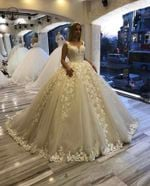 Deep V Neck Appliqued Lace Ball Gown Princess Wedding Dresses