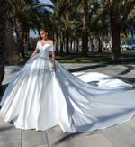 Elegant Dubai Saudi Arabic Satin Wedding Dress