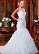 Vintage Scoop Neck Lace Appliques Mermaid Wedding Dresses