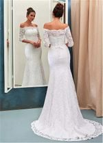 Bateau Half Sleeves Lace Mermaid Wedding Dresses
