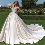 Turkey Short Sleeve Princess Ball Gown Wedding Dresses