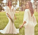 New Simple Batwing Sleeve Wedding Dress