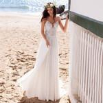 Beach Boho Wedding Lace Appliques Bridal Dress