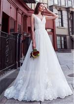 V-Neck Lace Appliques V-Shape Back Wedding Dresses