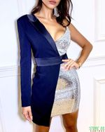 One Shoulder Blazer Dress Glitter Sequined