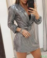 Sequins Belt Blazer Dress Long Sleeve